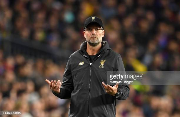 Jurgen Klopp Manager of Liverpool reacts during the UEFA Champions League Semi Final first leg match between Barcelona and Liverpool at the Nou Camp...