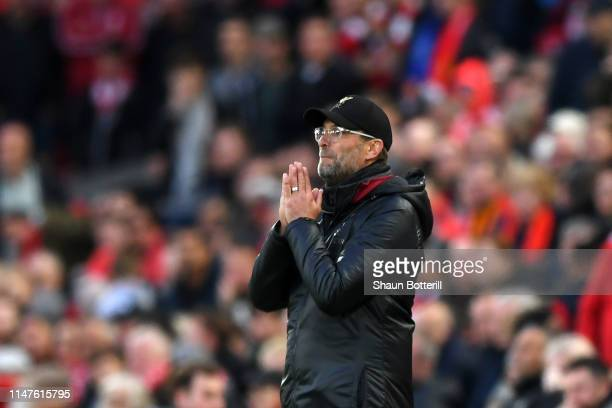 Jurgen Klopp Manager of Liverpool reacts during the UEFA Champions League Semi Final second leg match between Liverpool and Barcelona at Anfield on...
