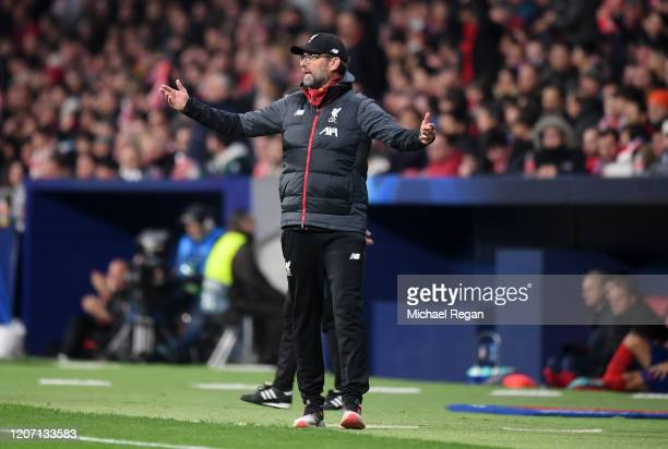 Jurgen Klopp Manager of Liverpool reacts during the UEFA Champions League round of 16 first leg match between Atletico Madrid and Liverpool FC at...