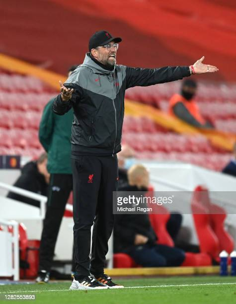 Jurgen Klopp Manager of Liverpool reacts during the UEFA Champions League Group D stage match between Liverpool FC and FC Midtjylland at Anfield on...