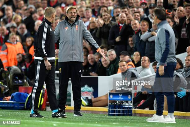 Jurgen Klopp Manager of Liverpool reacts during the UEFA Champions League group E match between Liverpool FC and Sevilla FC at Anfield on September...