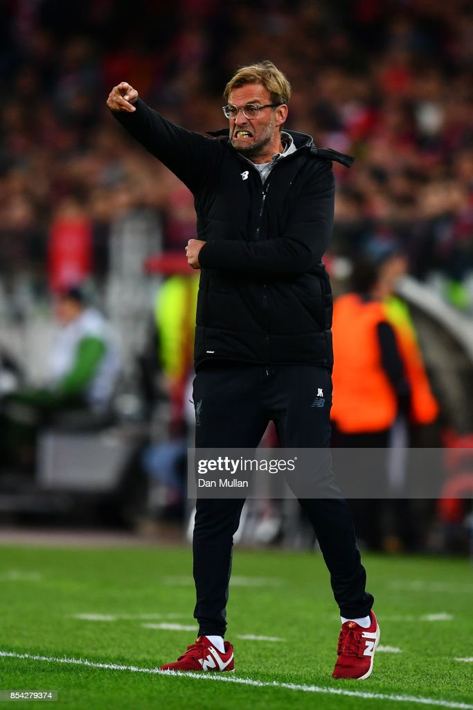 Jurgen Klopp, Manager of Liverpool reacts during the UEFA Champions League group E match between Spartak Moskva and Liverpool FC at Otkrytije Arena on September 26, 2017 in Moscow, Russia.