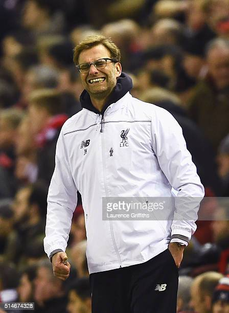 Jurgen Klopp manager of Liverpool reacts during the UEFA Europa League Round of 16 first leg match between Liverpool and Manchester United at Anfield...