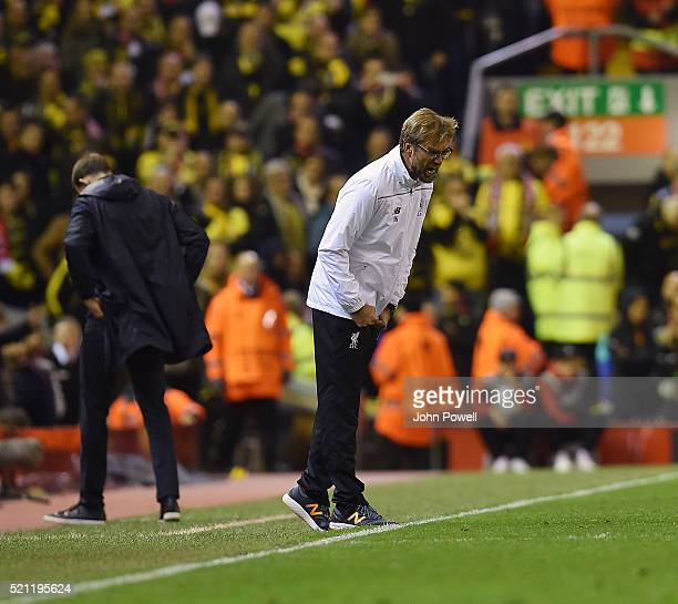 Jurgen Klopp manager of Liverpool reacts during the UEFA Europa League Quarter Final Second Leg match between Liverpool and Borussia Dortmund at...