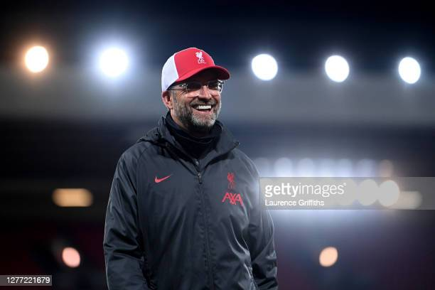 Jurgen Klopp, Manager of Liverpool reacts following his sides victory in the Premier League match between Liverpool and Arsenal at Anfield on...