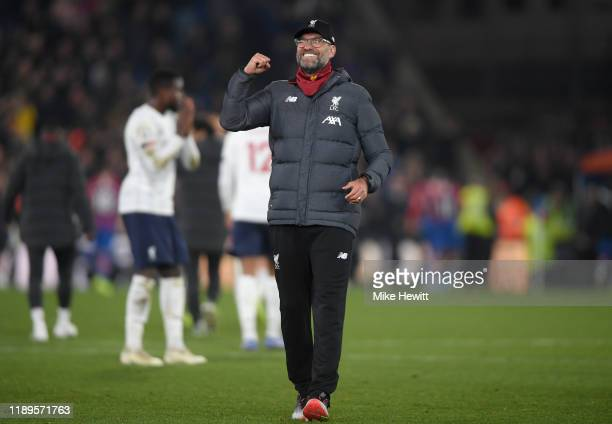 Jurgen Klopp, Manager of Liverpool reacts following his sides win during the Premier League match between Crystal Palace and Liverpool FC at Selhurst...