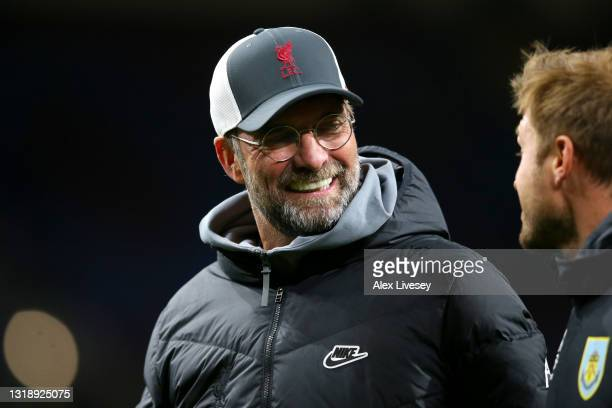 Jurgen Klopp, Manager of Liverpool reacts following the Premier League match between Burnley and Liverpool at Turf Moor on May 19, 2021 in Burnley,...