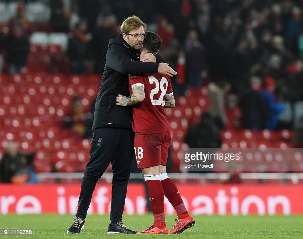 Jurgen Klopp manager of Liverpool reacts with Danny Ings of Liverpool after The Emirates FA Cup Fourth Round match between Liverpool and West...