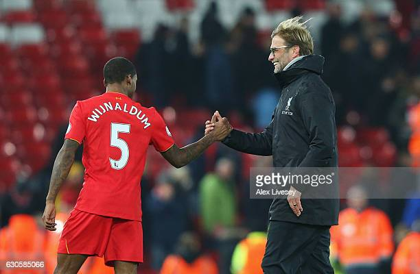 Jurgen Klopp manager of Liverpool shakes hands with Georginio Wijnaldum of Liverpool after the Premier League match between Liverpool and Stoke City...