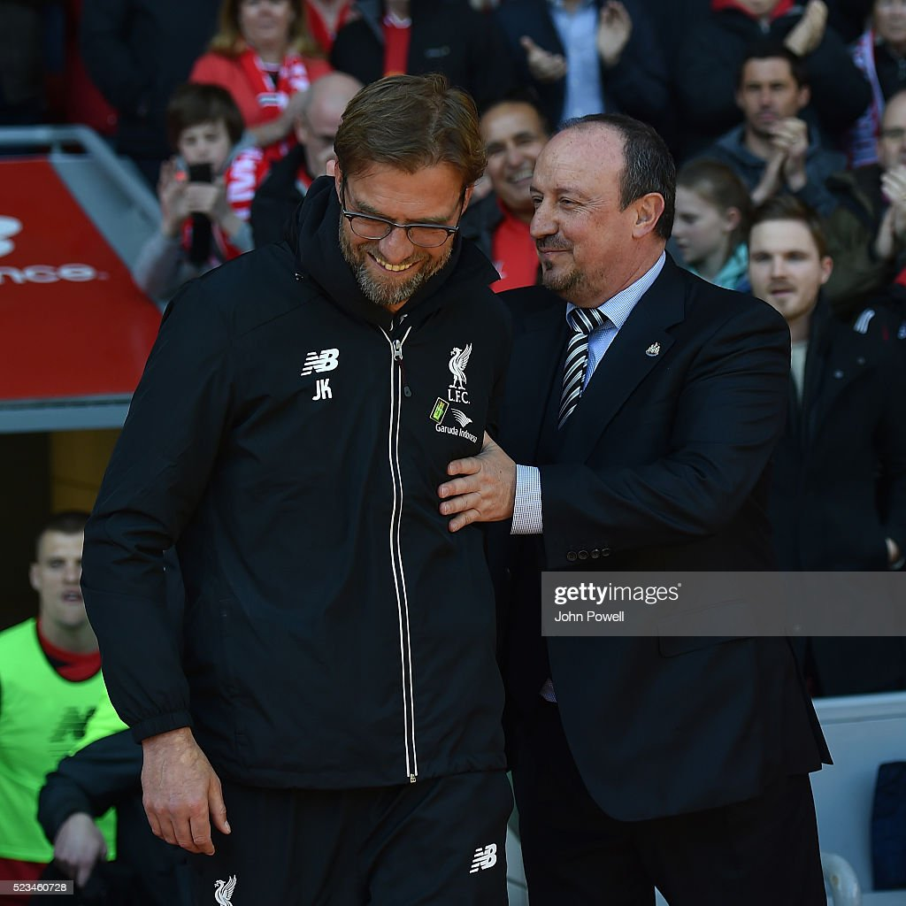 Jurgen Klopp manager of Liverpool shakes hands with Rafael Benitez manager of Newcastle before during the Barclays Premier League match between Liverpool and Newcastle United at Anfield on April 23, 2016 in Liverpool, United Kingdom.