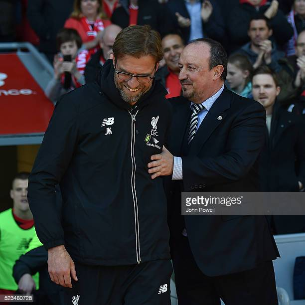 Jurgen Klopp manager of Liverpool shakes hands with Rafael Benitez manager of Newcastle before during the Barclays Premier League match between...