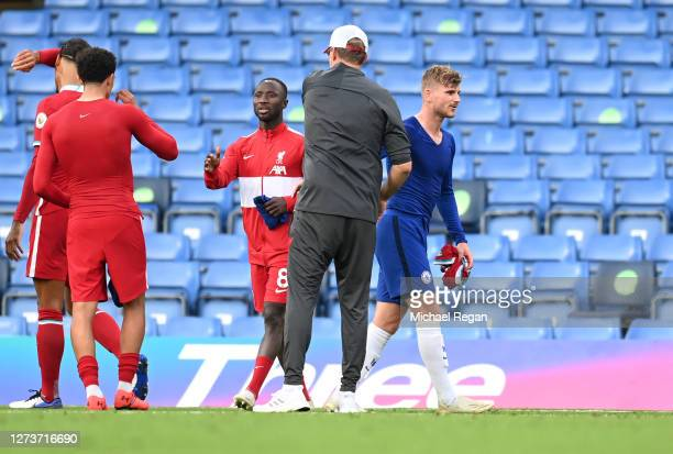 Jurgen Klopp Manager of Liverpool shakes hands with Timo Werner of Chelsea followingthe Premier League match between Chelsea and Liverpool at...