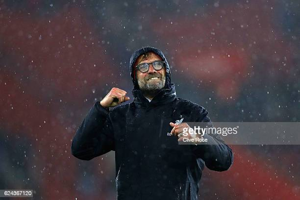 Jurgen Klopp Manager of Liverpool shows appreciation to the fans after the final whislte during the Premier League match between Southampton and...