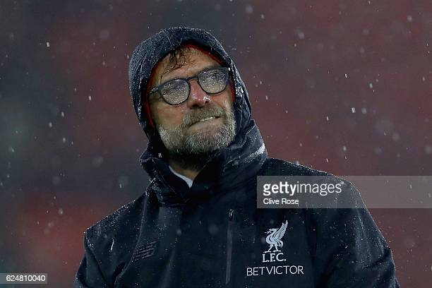 Jurgen Klopp, Manager of Liverpool shows appreciation to the fans after the final whislte during the Premier League match between Southampton and...