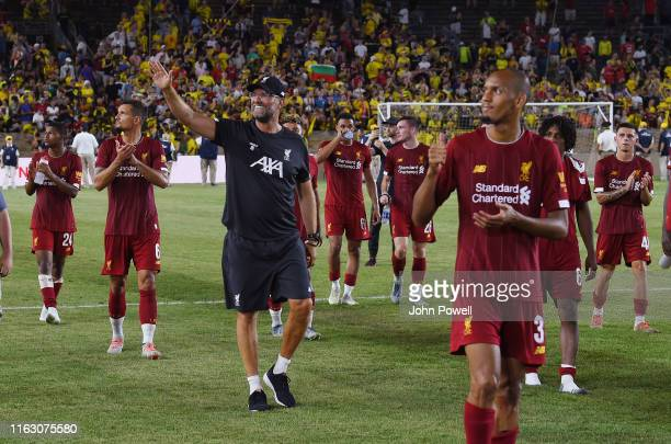 Jurgen Klopp manager of Liverpool shows his appreciation to the fans at the end of the pre-season friendly match between Borussia Dortmund and...