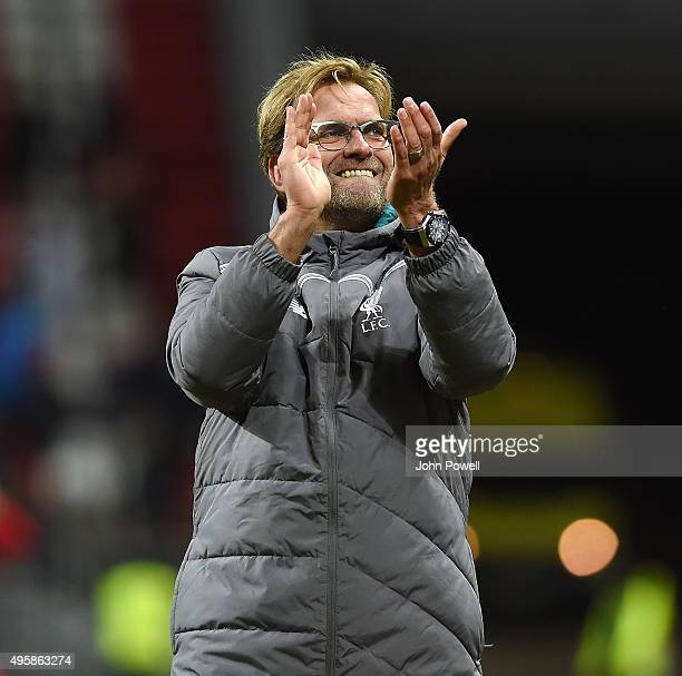 Jurgen Klopp manager of Liverpool shows his appreciation to the fans at the end during the UEFA Europa League match between FC Rubin Kazan and...