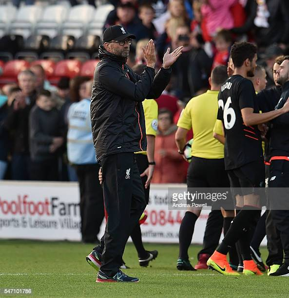 Jurgen Klopp manager of Liverpool shows his appreciation to the fans at the end of the PreSeason Friendly match bewteen Fleetwood Town and Liverpool...