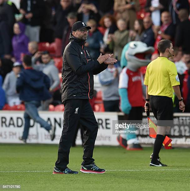 Jurgen Klopp manager of Liverpool shows his appreciation to the fans at the end of the Pre-Season Friendly match bewteen Fleetwood Town and Liverpool...