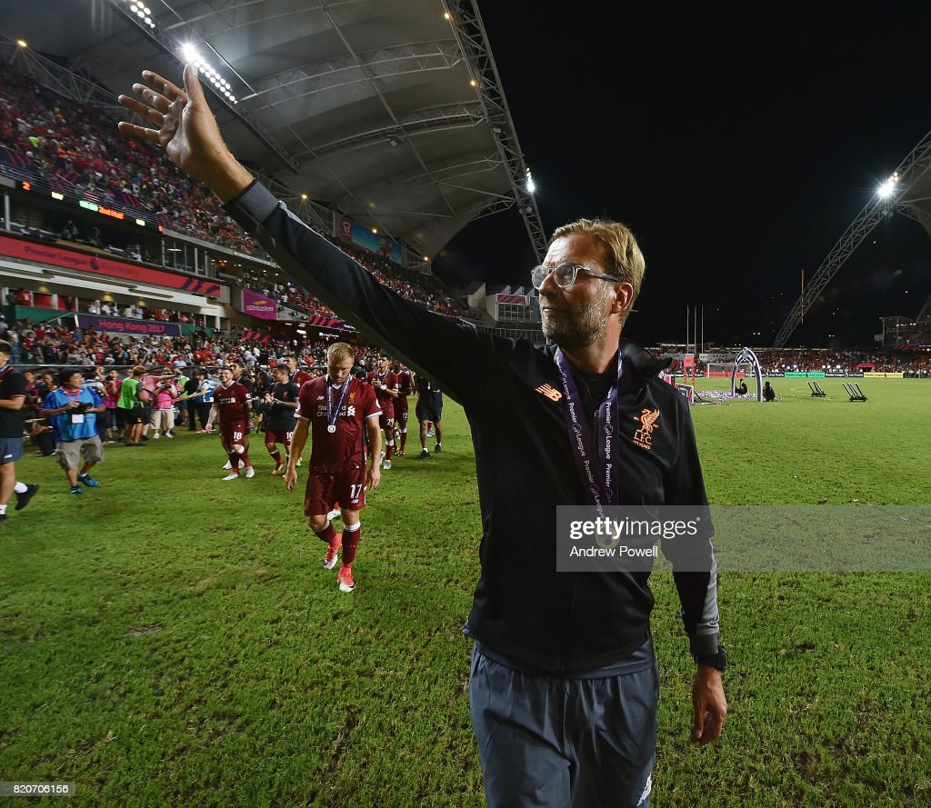 Jurgen Klopp manager of Liverpool shows his appreciation to the fans at the end of the Premier League Asia Trophy match between Liverpool FC and Leicester City FC at the Hong Kong Stadium on July 22, 2017 in Hong Kong, Hong Kong.