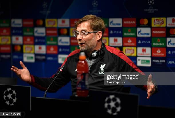 Jurgen Klopp Manager of Liverpool speaks during a Liverpool press conference ahead of their UEFA Champions League semifinal first leg match against...