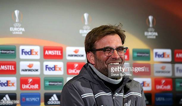 Jurgen Klopp Manager of Liverpool speaks during a press conference ahead of the UEFA Europa League round of 16 second leg match between Manchester...
