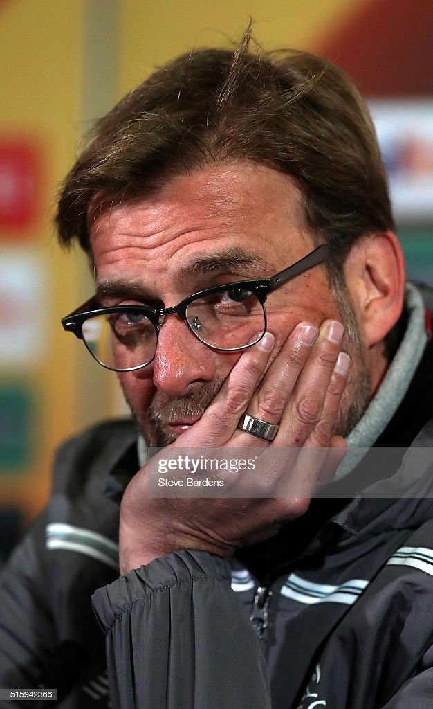 Jurgen Klopp, Manager of Liverpool speaks during a press conference ahead of the UEFA Europa League round of 16 second leg match between Manchester United and Liverpool at Old Trafford on March 16, 2016 in Manchester, England.
