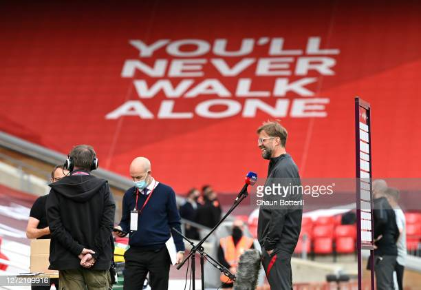 Jurgen Klopp Manager of Liverpool speaks to Sky Sports prior to the Premier League match between Liverpool and Leeds United at Anfield on September...