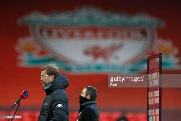 Jurgen Klopp, Manager of Liverpool speaks to the media ahead of the Premier League match between Liverpool and Manchester United at Anfield on...