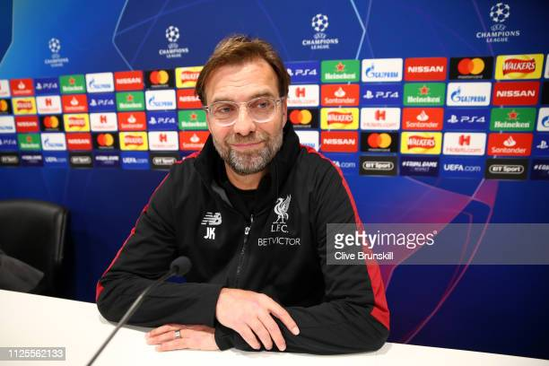 Jurgen Klopp, Manager of Liverpool speaks to the media during a Liverpool Press Conference at Melwood Training Ground on February 18, 2019 in...