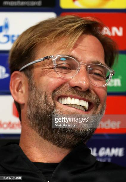Jurgen Klopp Manager of Liverpool speaks to the media during the Liverpool press conference at Melwood Training Ground on September 17 2018 in...