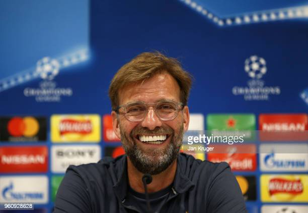 Jurgen Klopp Manager of Liverpool speaks with the media during a press conference at Anfield on May 21 2018 in Liverpool England