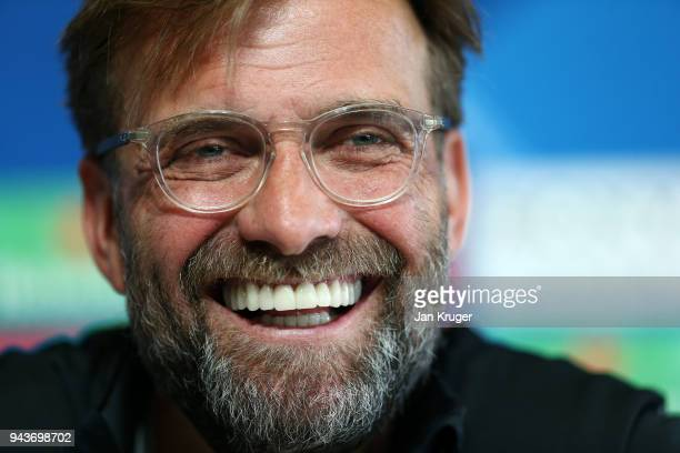 Jurgen Klopp Manager of Liverpool speaks with the media during the Press Conference at Manchester City Football Academy on April 9 2018 in Manchester...
