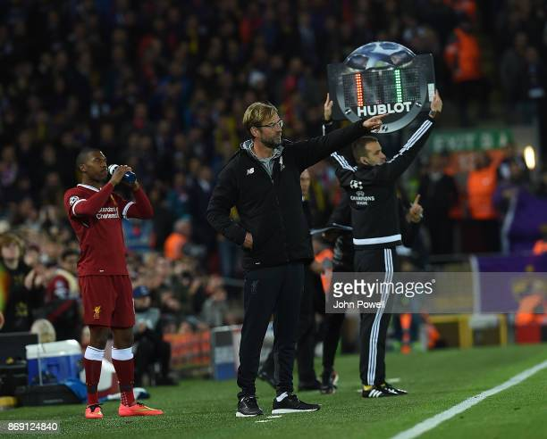 JUrgen KLopp Manager of Liverpool substitutes Firmino for Sturridge during the UEFA Champions League group E match between Liverpool FC and NK...