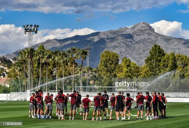Jurgen Klopp manager of Liverpool talking with his players before a training session at Marbella Football Centre on May 22 2019 in Marbella Spain