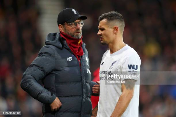 Jurgen Klopp, Manager of Liverpool talks to Dejan Lovren of Liverpool during the Premier League match between AFC Bournemouth and Liverpool FC at...