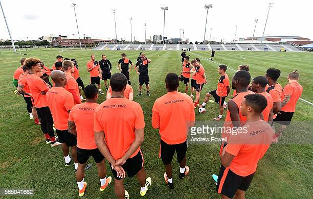 Jurgen Klopp manager of Liverpool talks with his team during a training session at St Louis University on August 1 2016 in St Louis Missouri