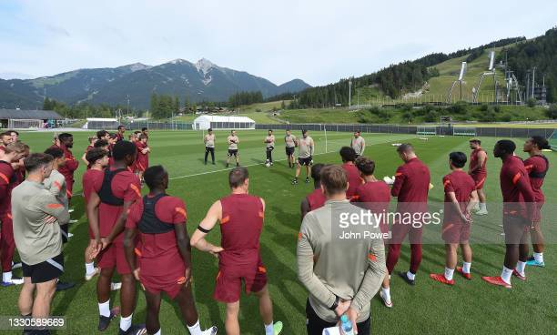 Jurgen Klopp manager of Liverpool talks with The Liverpool Team during a training session on July 25, 2021 in UNSPECIFIED, Austria.