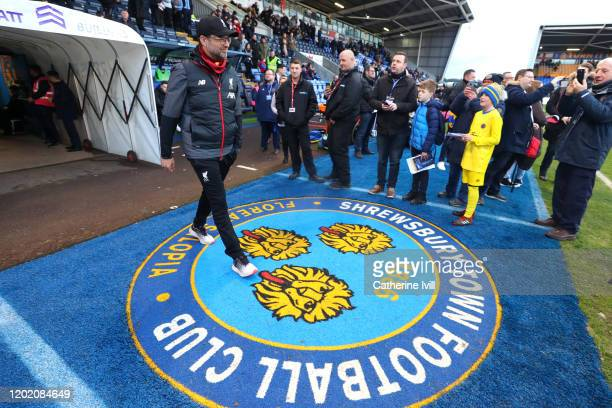 Jurgen Klopp Manager of Liverpool walks out prior to the FA Cup Fourth Round match between Shrewsbury Town and Liverpool at New Meadow on January 26...