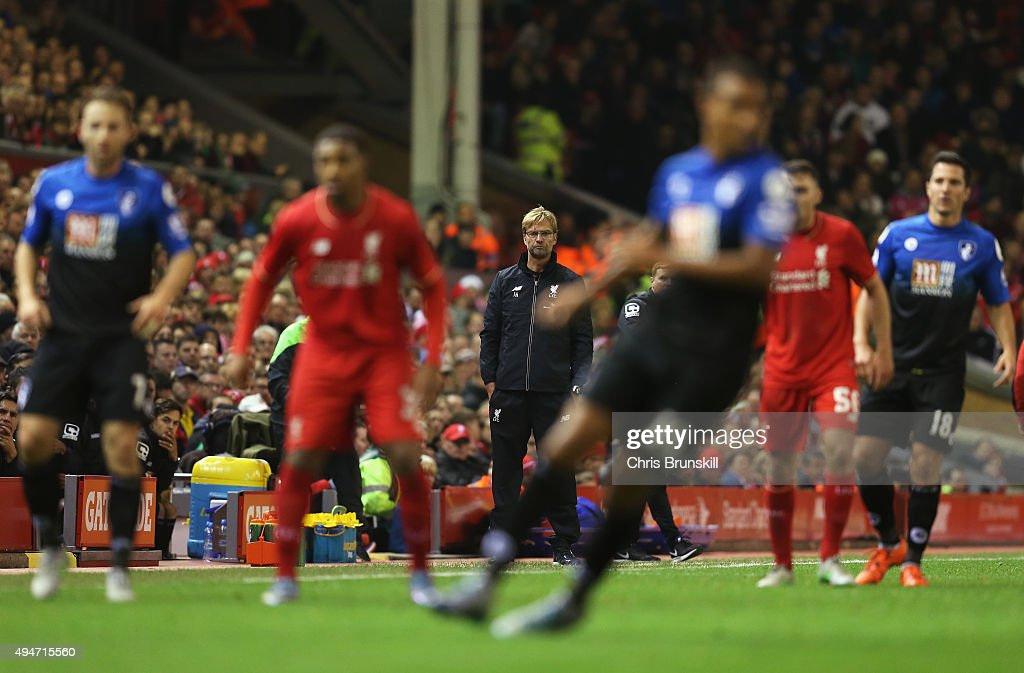 Jurgen Klopp, manager of Liverpool watches the action during the Capital One Cup Fourth Round match between Liverpool and AFC Bournemouth at Anfield on October 28, 2015 in Liverpool, England.