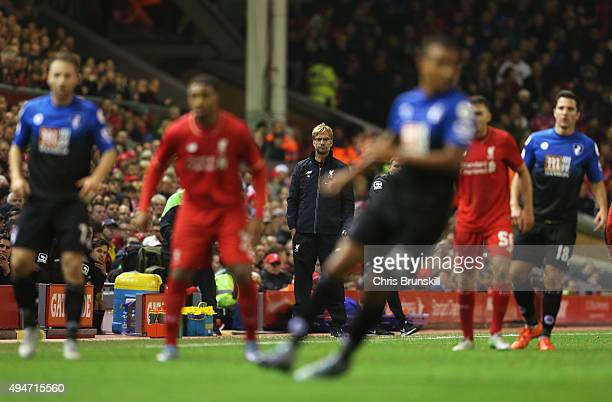 Jurgen Klopp manager of Liverpool watches the action during the Capital One Cup Fourth Round match between Liverpool and AFC Bournemouth at Anfield...