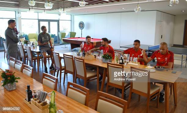 Jurgen Klopp manager of Liverpool with Adam Lallana Danny Ings Allan Rodrigues de Souza and Fabinho during their first day back for preseason...