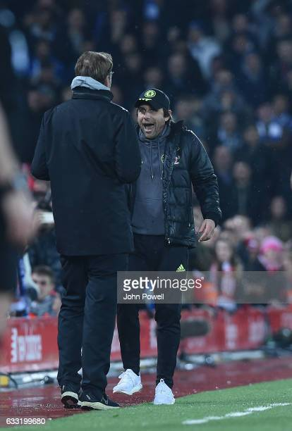 Jurgen Klopp Manager of Liverpool with Antonio Conte Manager of Chelsea during the Premier League match between Liverpool and Chelsea at Anfield on...