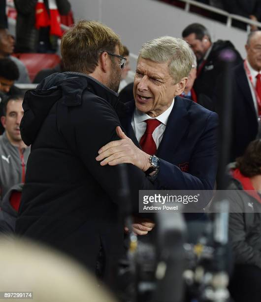 JUrgen Klopp Manager of Liverpool with Arsene Wenger of Arsenal during the Premier League match between Arsenal and Liverpool at Emirates Stadium on...