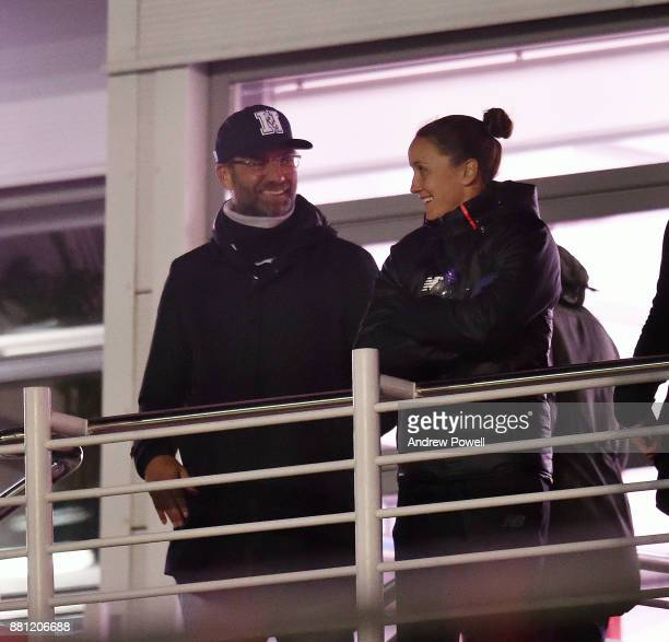 Jurgen Klopp manager of Liverpool with Casey Stoney of Liverpool Ladies during the U18 Premier League match between Liverpool U18 and Manchester City...