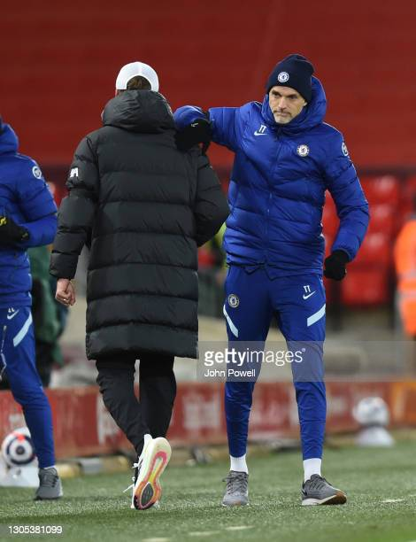 Jurgen Klopp manager of Liverpool with Chelsea manager Thomas Tuchel at the end of the Premier League match between Liverpool and Chelsea at Anfield...