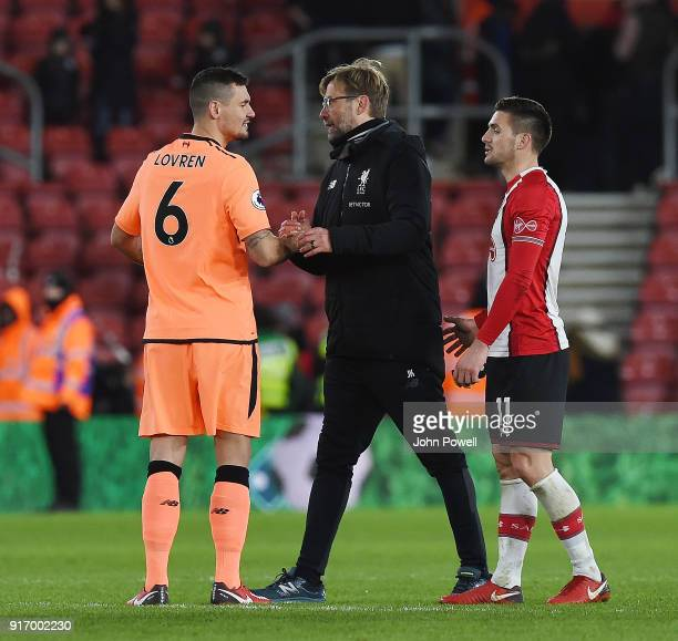 Jurgen Klopp manager of Liverpool with Dejan Lovren of Liverpool at the end of the Premier League match between Southampton and Liverpool at St...