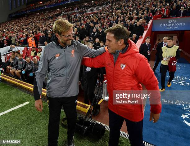 Jurgen Klopp manager of Liverpool with Eduardo Berizzo manager of Eduardo Berizzo before the UEFA Champions League group E match between Liverpool FC...