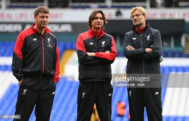 Jurgen Klopp manager of Liverpool with his assistants Zeljko Buvac and Peter Krawietz before the Barclays Premier League match between Tottenham...
