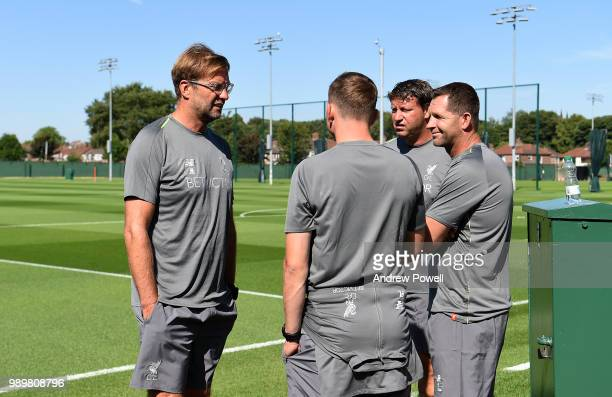 Jurgen Klopp manager of Liverpool with his backroom staff Pep Lijnders Peter Krawietz and John Achterberg during their first day back for preseason...