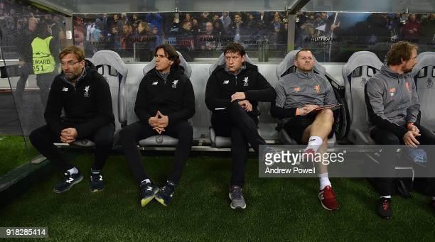 Jurgen Klopp manager of Liverpool with his staff Zeljko Buvac, Peter Krawietz, John Achterberg and Andreas Kornmayer before the UEFA Champions League...